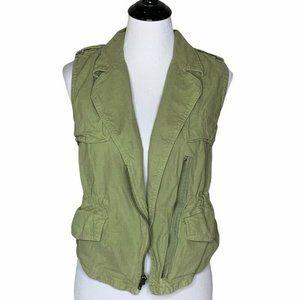 Madewell Womens Safari Utility Vest Green Zip Up
